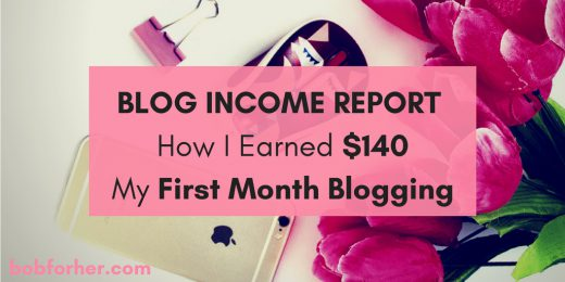 Blog Income Report How I Earned $140 My First Month Blogging_ bobforher.com - twitter