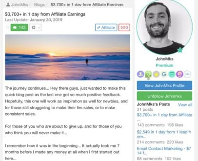 WealthyAffiliate Success Story JohnMks