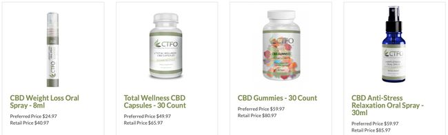 CTFO CBD oil products