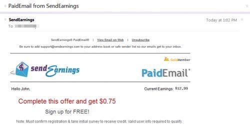 Sendearnings paid email